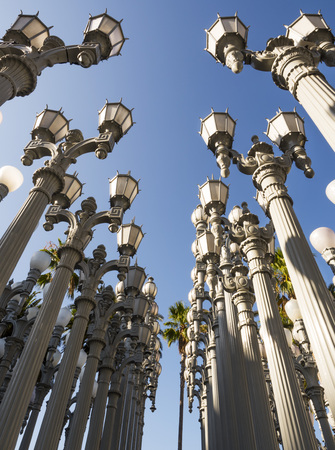 Urban Light by Chris Burden at the LACMA - Los Angeles County Museum of Art, big rock, on the August 12th, 2017 - Los Angeles, CA, USA