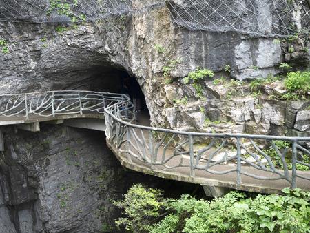 The Cliff  Hanging Walkway at Tianmen Mountain, The Heaven's Gate at Zhangjiagie, Hunan Province, China, Asia 版權商用圖片