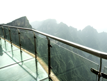 Cliff Glass Sky Walk at Tianmen Mountain, The Heavens Gate at Zhangjiagie, Hunan Province, China, Asia Stock Photo