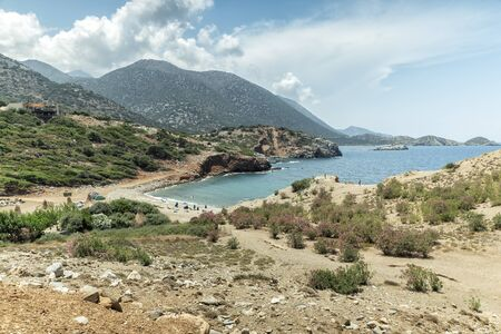 Turquoise sea on the hill of Vrahi Beach and Beach Good Land between Heraklion and Rethimno, Crete Island, Greece