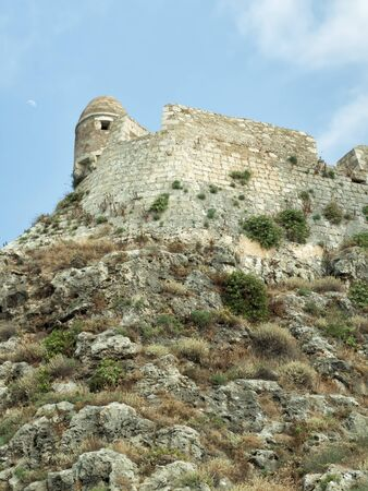 Coast line and castle wall at Rethimno, Crete Island, Greece Imagens
