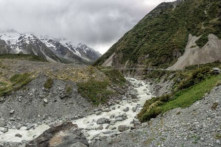 Suspension Bridge, Hooker Valley Track at Mount Cook, Aoraki, New Zealand, NZ