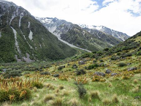 Tasman Glacier Track at Aoraki, Mount Cook, New Zealand, South Island, NZ Banco de Imagens