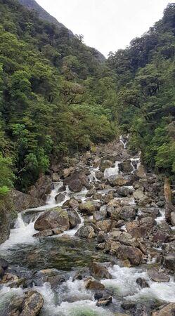 Doubtful Sound Waterfall, New Zealand, South Island, NZ Stok Fotoğraf
