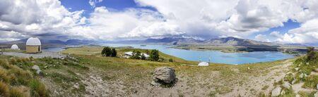 Tekapo Lake view from Mt John Astronomical Observatory, Canterbury, New Zealand, South Island, NZ Stock Photo