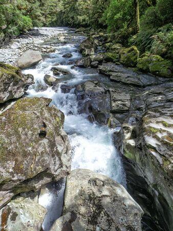 The Chasm Waterfalls, Milford Sound Fjordland, New Zealand, South Island, NZ