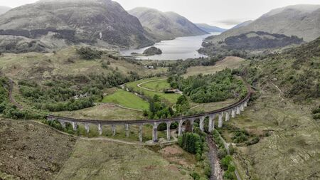 Glenfinnan Viaduct, aerial view by drone - Scotland, UK