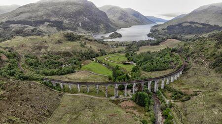 Glenfinnan Viaduct, aerial view by drone - Scotland, UK Standard-Bild