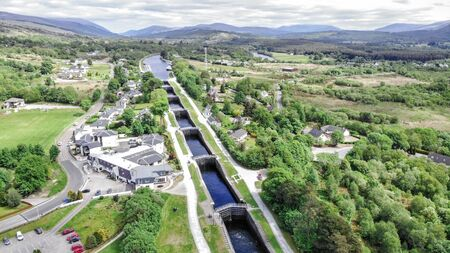 Neptune staircase locks, aerial view by drone at the Caledonian Canal, Banavie, Scotland, UK