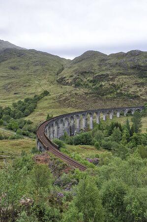 Glenfinnan Viaduct at Glenfinnan - Scotland, UK Archivio Fotografico