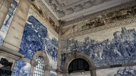 São Bento Station with blue and white decorated tiles at Porto - Portugal