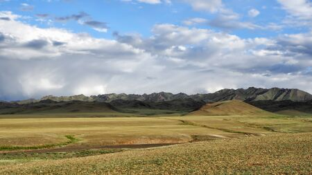 Secluded Mongolian Gers at the Gobi Desert, Mongolia Stock Photo