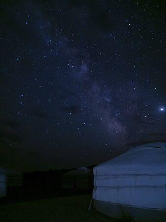 Mongolian Ger and the Milky Way on the background - Gobi Desert, Mongolia Stock fotó