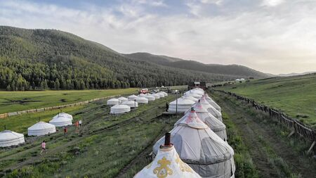Aerial view of the Tsenkher Hot Spring Camping Site, Central Mongolia Reklamní fotografie