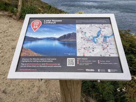 December 12th, 2018: Lake Hawea Sign, Wanaka, New Zealand, South Island, NZ