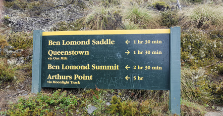 December 12th, 2018: Ben Lomond Track Sign, Queenstown, New Zealand, South Island, NZ