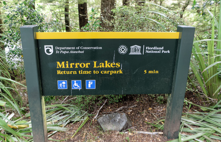 December 12th, 2018: Mirror Lakes Sign, Te Anau Milford Highway, New Zeland, South Island, NZ