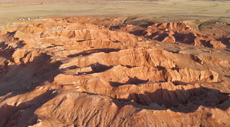 Aerial view of the Bayanzag, flaming cliffs, Gobi Desert, Mongolia