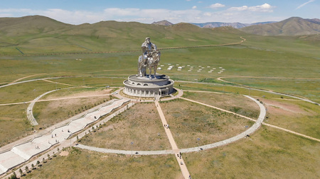 9th July, 2019: Aerial view of the Genghis Khan Equestrian Statue, Ulaanbaatar, Mongolia
