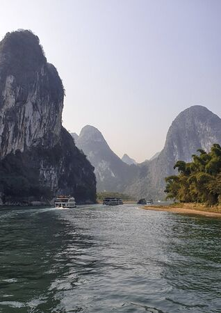 Li River surrounded by Karst between Guilin and Yangshuo - Guangxi Province, China
