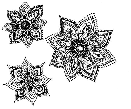a set of traditional Asian ornaments with paisley flowers and swirls