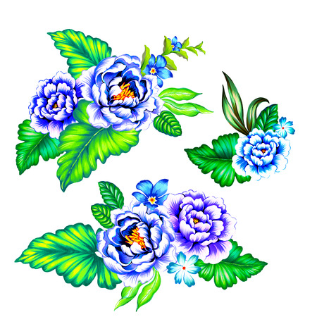 vibrance: blue and purple mexican flowers. Classic mexican latin style illustration, with vibrant blue roses and green leaves. Set of botanical motifs on white background.