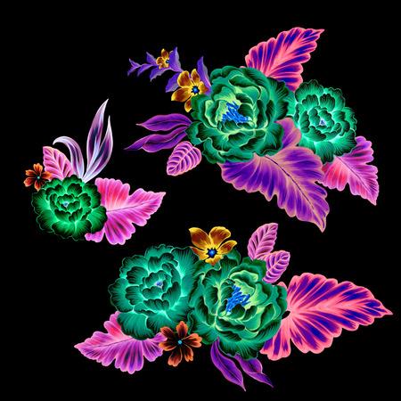 mexicaanse bloemen, neon fluorescent bloemen. set van 3 boeketten op een zwarte achtergrond, met intense surrealistische niet realistische kleuren. Stockfoto