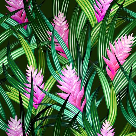 驚くほど詳細な花のイラストと熱帯パターン。