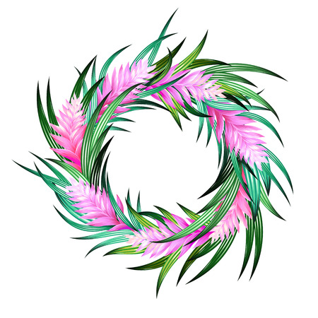 tropical wreath with heliconia and exotic leaves