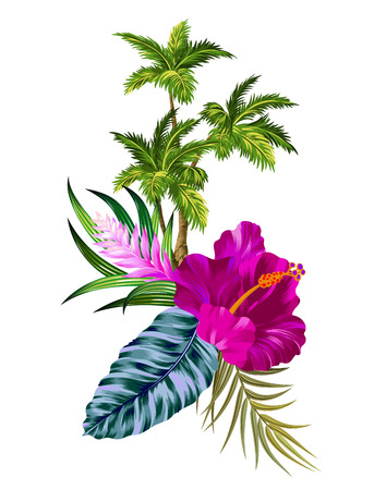 vector vintage style floral composition with palm trees. Editable gorgeous retro style botanical elements, happy colors, elegant layout