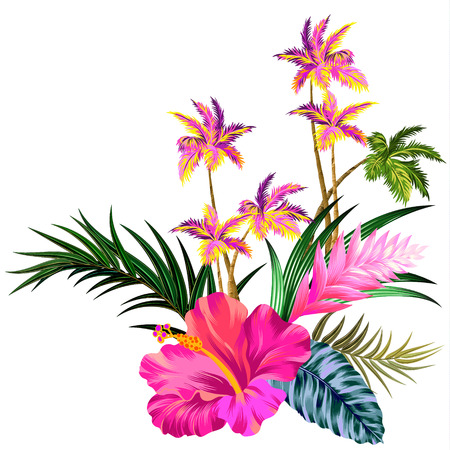 tahiti: vector vintage style floral composition with palm trees. Editable gorgeous retro style botanical elements, happy colors, elegant layout