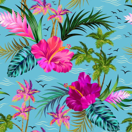 aloha style vector seamless pattern with vintage palms, hibiscus, water, birds, and other tropical elements. Vettoriali