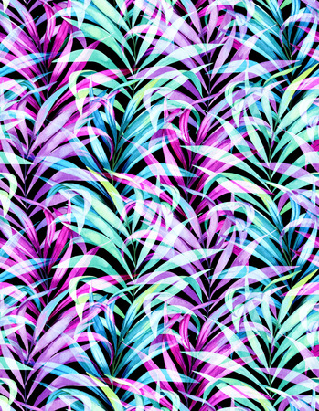 seamless watercolor palm pattern with layered colorful neon palm leaves and beautiful silhouettes and transparencies.