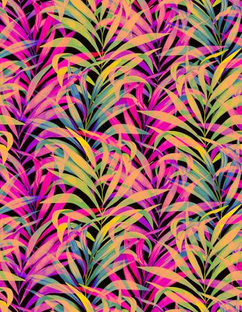 seamless aquarelle de palme avec des feuilles en couches colorées néon de palmiers et de belles silhouettes et transparents.
