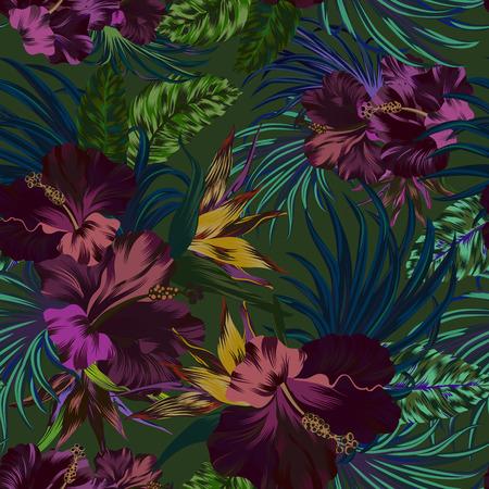 asombroso del vector flores tropicales Patten. diseño sin costuras con elementos botánicos gorgeus, hibiscos, palmeras, aves del paraíso. archivo vectorial editable