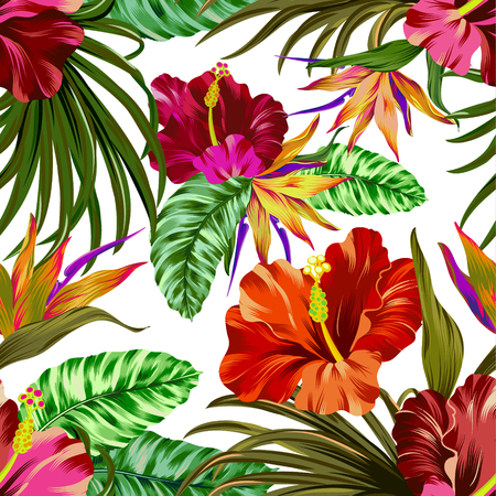 brazil beach swimsuit: amazing vector tropical flowers patten. seamless design with gorgeus botanical elements, hibiscus, palm, bird of paradise. Vector editable file
