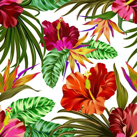 geweldige vector tropische bloemenklomp. naadloos ontwerp met gorgeus botanische elementen, hibiscus, palm, paradijsvogel. Vector bewerkbaar bestand