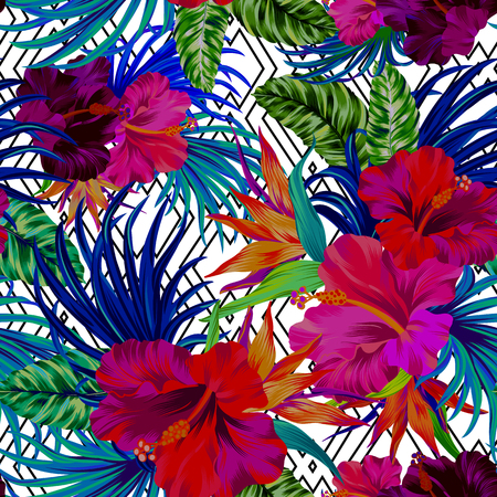 patten: amazing tropical flowers patten. seamless design with gorgeus botanical elements, hibiscus, palm, bird of paradise. editable file