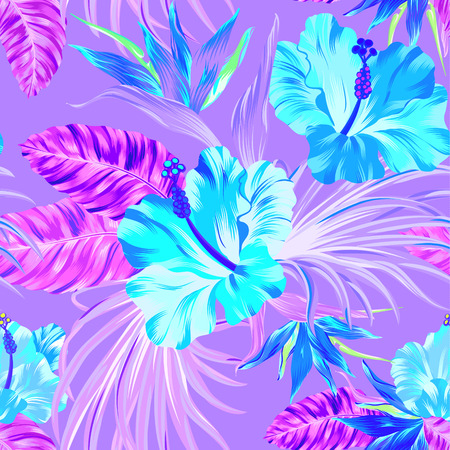 amazing tropical flowers patten. seamless design with gorgeus botanical elements, hibiscus, palm, bird of paradise. editable file