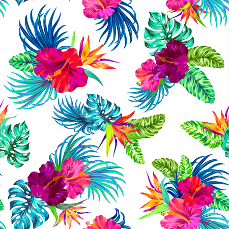 tropical flowers: amazing vector tropical flowers patten. seamless design with gorgeus botanical elements, hibiscus, palm, bird of paradise. editable file