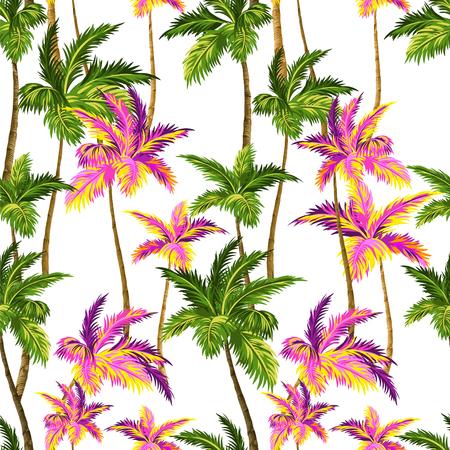 motif de palme transparente avec couches colorées feuilles néon de palmier et silhouettes, pour maillots de bain, papier peint.