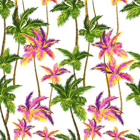 seamless palm pattern with layered colorful neon palm leaves and silhouettes, for swimwear, wall paper.