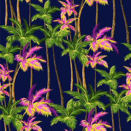 vintage plams, hawaii shirt seamless pattern. 矢量图像