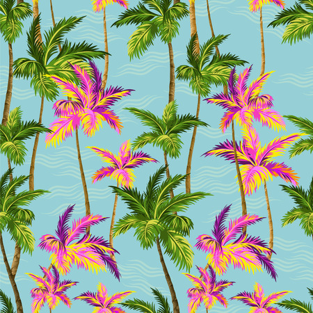 palmetto: hawaii shirt palm trees pattern. seamless design with tropical palms with sea and waves background Illustration
