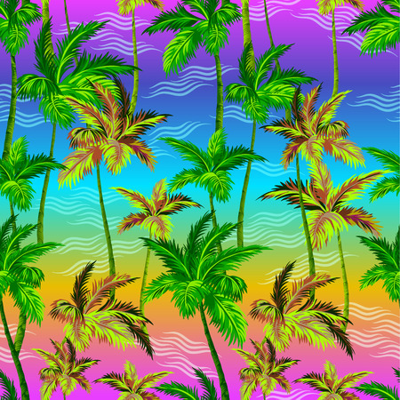 active wear: palms pattern. seamless palms design on neon background. for fashion, active wear, swimwear, interior