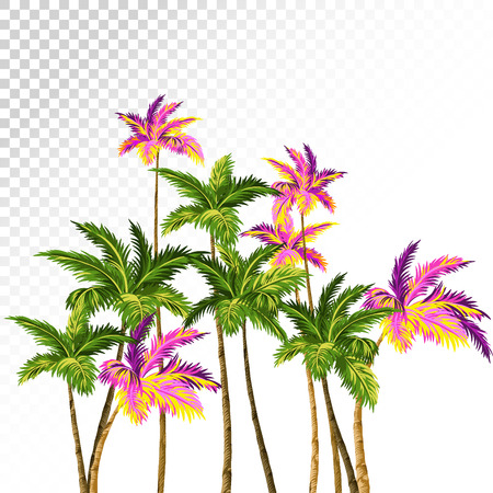 exotic flowers: palms composition with green and neon palm trees. retro style illustration, aloha hawaiian drawing. Illustration
