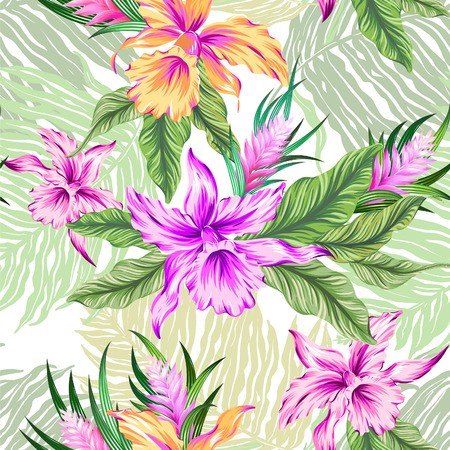 vibrance: seamless tropical pattern with orchids and ficus leaves, and palms. Pastel gentle colors, aloha textile style.