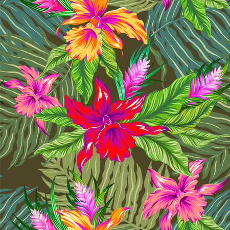 colorful hawaiian pattern. seamless design with exotic flowers and orchids. Vintage style illustration. Khaki background. Illustration