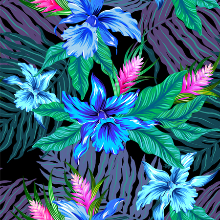 seamless tropical pattern with blue flowers. Exotic orchids on black background. Pattern for swimwear, fashion, interior.