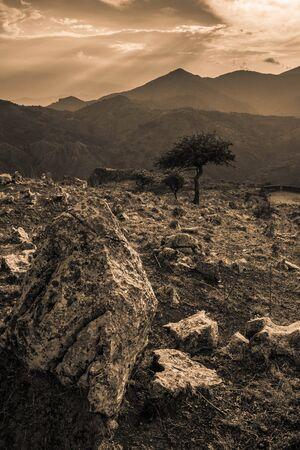 nestled: The wonderful sense of calm expressed by nature alone. Nestled among the beautiful mountains peloritani Stock Photo